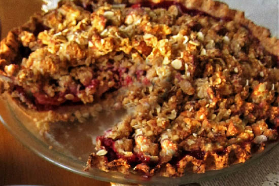 Raspberry-apricot pie with hazelnut streusel topping  - A recipe by Epicuriantime.com