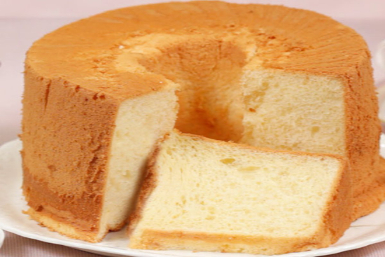 Orange chiffon cake with orange fluff icing