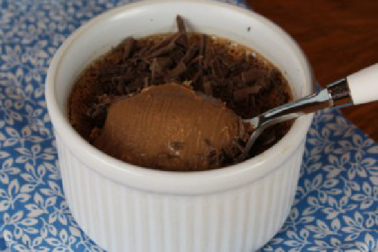 Chocolate pudding with coffee sauce