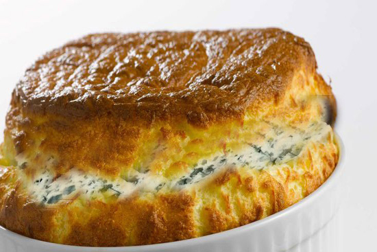 Blue cheese and walnut soufflés