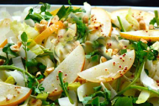Watercress endive salad with roasted pears and roquefort - A recipe by Epicuriantime.com