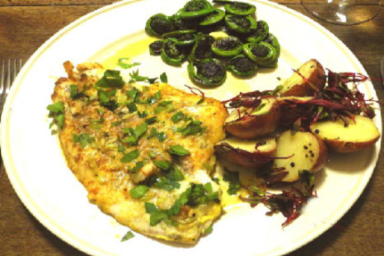 Flounder with fiddleheads and red potatoes