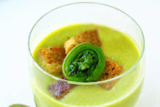 Potato soup with fiddleheads and garlic croutons - A recipe by Epicuriantime.com
