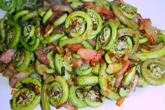 Sautéed fiddleheads with pancetta - A recipe by Epicuriantime.com