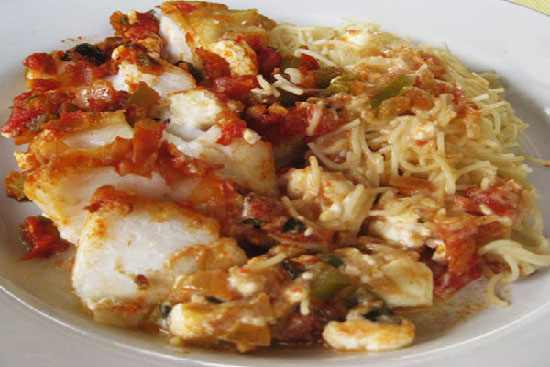 Baked cod greek-style - A recipe by Epicuriantime.com