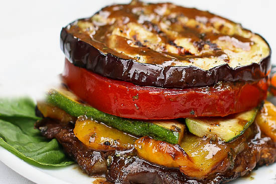 Grilled vegetable stacks - A recipe by Epicuriantime.com