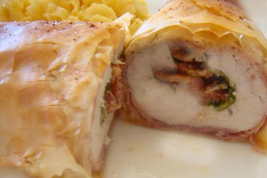 Phyllo wrapped chicken with mexican pesto
