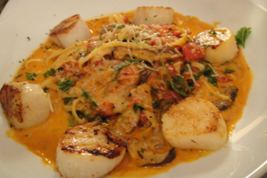 Lemon grass fettuccini with seared shrimp and scallops