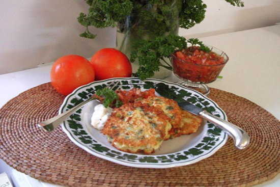 Corn and jalapeno pancakes with tomato salsa - A recipe by Epicuriantime.com