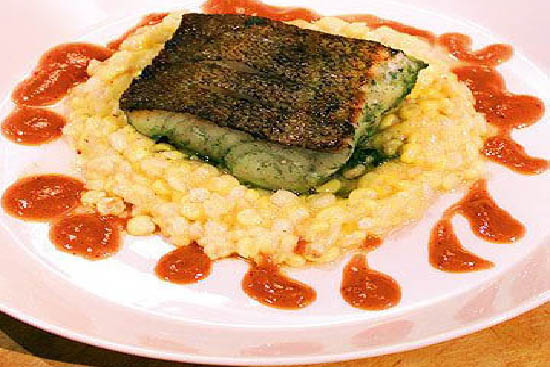 Marinated cod fillet with corn pudding