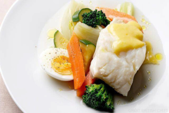 Cod with vegetables and aioli sauce