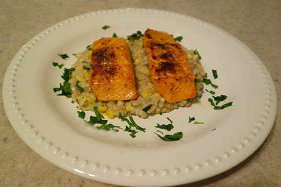 Broiled Salmon With Sweet Corn and Barley Risotto - A recipe by Epicuriantime.com