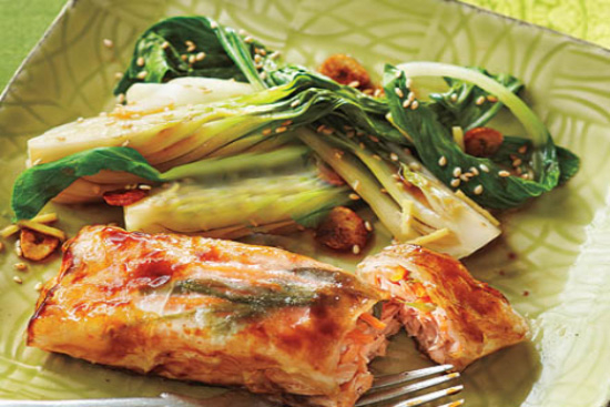 Glazed salmon bundles with sesame bok choy