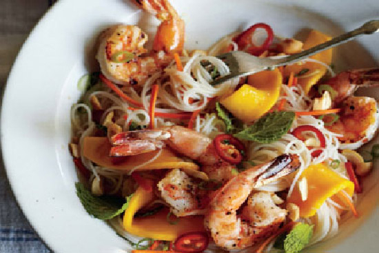 Thai pasta salad with shrimp and vegetables
