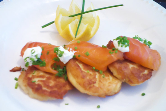 Potato pancakes with smoked salmon and creme fraiche - A recipe by Epicuriantime.com