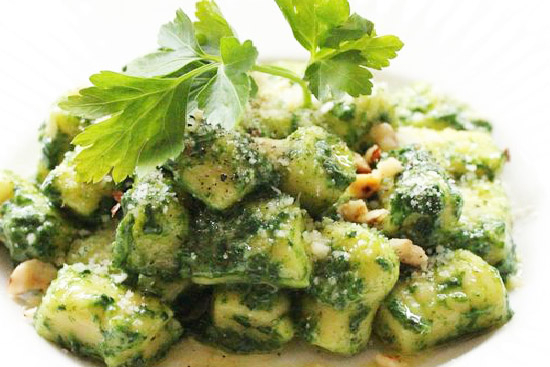 Pear hazelnut gnocchi with greens