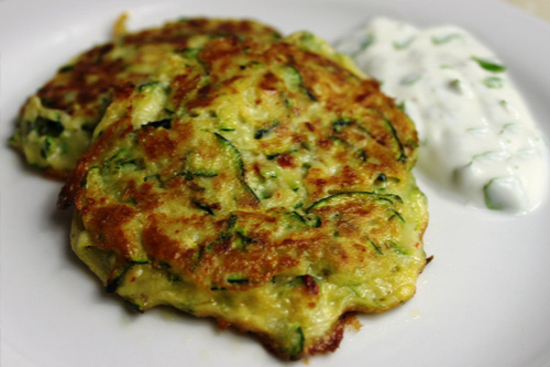 Zucchini and red lentil fritters with lemony yogurt