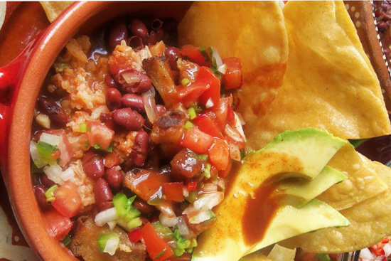 Chifrijo -Costa Rican crispy pork rice and beans